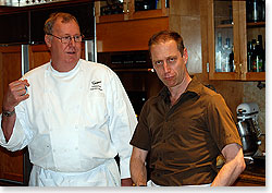 David struts his stuff with Draegers' chef, Bill Hutton.