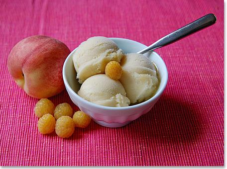 Golden Raspberry and White Peach Sorbet.