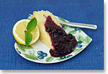 Lemon Cake with Blueberry Coulis